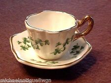 Vintage Sandford Bone China Miniature Cup & Saucer In Shamrock Pattern