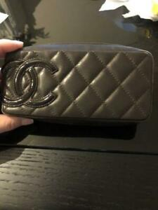 Genuine Chanel vanity Pouch black ladies Used accessory case