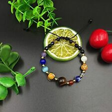 Natural Stone Beads Galaxy Planets Solar System Bracelet Bangle W6N7