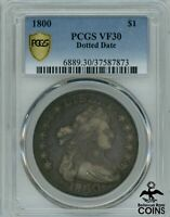 1800 United States Draped Bust Silver Dollar Coin PCGS VF30 Dotted Date!