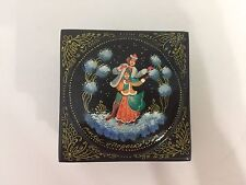 Vintage 2 Tier Russian Lacquer Box Jewelry Trinket w/ Christmas Scene Signed