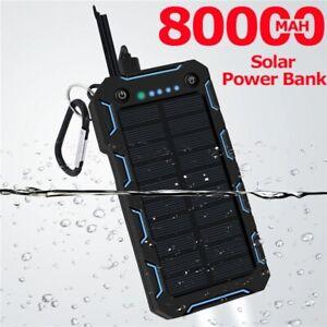80000mAh Solar Power Bank LED Lighting Outdoor Portable 2 USB Power bank