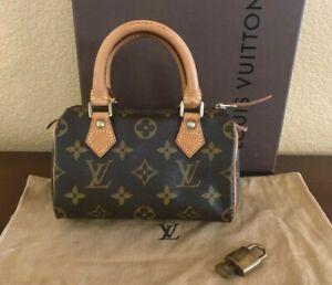 LOUIS VUITTON Mini Speedy Monogram Canvas Leather Handbag Pochette Pouch Purse