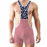 Men's American Flag Wrestling Singlet Sports Bodysuit Leotard Jumpsuit Underwear