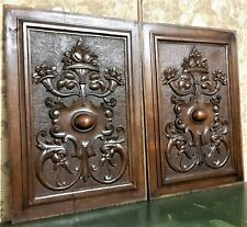 Pair griffin scroll leaf cornucopia panel Antique french architectural salvage