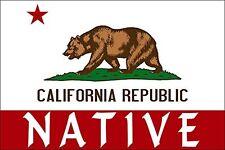 """California Flag w/ NATIVE Sticker (bear state local bumper)    2.5"""""""