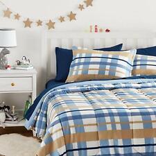 Twin Full Queen Bed Bag Navy Blue Tan Beige Brown Plaid 7 pc Comforter Sheet Set