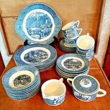 40 Pieces Currier and Ives Blue Dinnerware Sugar Creamer Cake Plate EUC