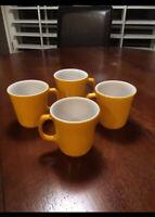 4 Vintage Pyrex Yellow Coffee Mugs/Cup 70's Corning Ware Dinnerware Retro Canary