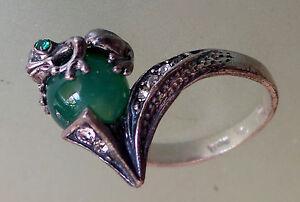Ring Frog Feng Shui Money Natural Jade size 6 USAsize, size M - UK