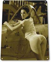 Weapons Pinup Girl Sexy Airplane Military Man Cave Gun Wall Decor Metal Tin Sign