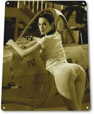 Weapons Pinup Girl Sexy Airplane Military Man Cave Gun Wall Decor Metal Tin Sign