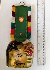 "Vtg Cow Bell Brass Hand Painted Brienz Switzerland 9"" Bell measures 3.25"" x 3"""