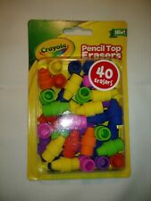 "Crayon Pencil Top Erasers, School Supplies  40 Pack ""New"""