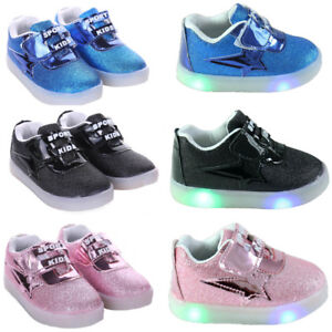 KIDS BOYS GIRLS LED RUNNING TODDLER SHOCK AIR LIGHT UP INFANTS TRAINERS SHOES UK