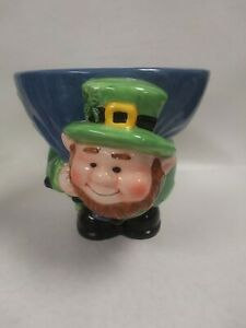 "VTG.  GKRO SHAMROCK  LEPRECHAUN  CANDY DISH ~ CERAMIC ~ 5"" TALL X 6"" DIAMETER"