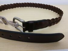 Men's Fossil Leather Belt Brown Weave New With Tags Size 42