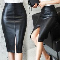 Women PU Leather Pencil Midi High Waist Split Skirt Lady Wet Look Stretch Dress