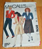 VTG McCall's Misses Jacket Skirt Pants Culottes Sz 10 Sewing Pattern 8174 Uncut