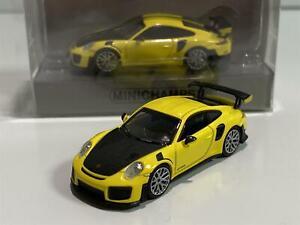 Minchamps 870068124 Porsche 911 GT2 RS 2018 Yellow Carbon Bonnet 1:87 Scale