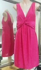 Review Jersey Dress.Sz8. Shimmer cerise. Stretchy and lined.Slimming empire line