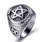 Men Stainless Steel Ring Ouroboros Snake Serpent Eating Tail Pentagram Masonic