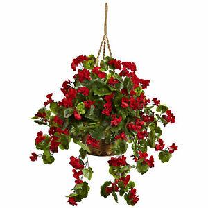 Nearly Natural Geranium Hanging Basket UV Resistant Floral Red Home Garden Decor