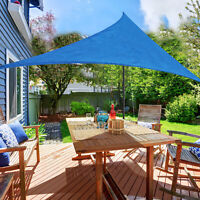 Outsunny 12ft Patio Lawn Shelter Sun Sail Shade Triangle w/ Carrying Bag Blue