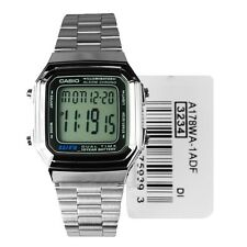 Casio Digital Day Date Unisex Silver Bracelet Chrono Alarm Men Watch A178WA-1ADF