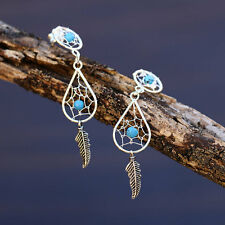 Dream Catcher Earrings Sterling Silver w/ Turquoise Bead New Studs Free Shipping