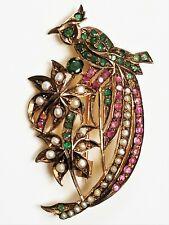 Vintage Viktorianisch Revival Sterling Rubin,Smaragd & Perle Vogel von Paradies