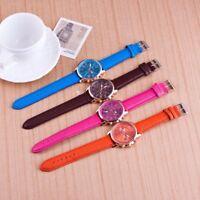 Montre femme-luxe-chic-Mode-Cristal-Acier-Analogique-bracelet-Mode-Cuir
