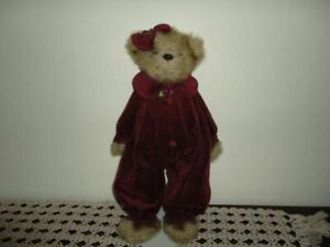 Bearington Girl Bear Burgundy Velvet Jumpsuit Outfit 16 inch Super Squishy Soft