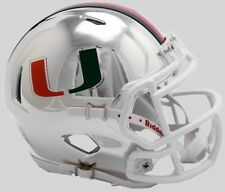 MIAMI HURRICANES NCAA Riddell SPEED Authentic MINI Football Helmet CHROME