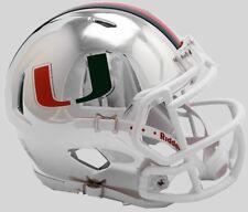 MIAMI HURRICANES NCAA Riddell SPEED Authentic MINI Football Helmet CHROME