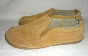 Men's sz 8 Minnetonka Faux Fur Lined Suede Leather Slip On Adult Slippers 41641