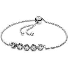 Genuine Pandora Sterling Silver Round Sparkle Slider Bracelet 598510C01 NEW!