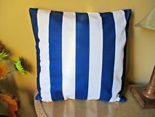 Navy Blue and Ivory White Striped Soft Polyester Blend Cushion Cover FREEPOST