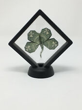 Money Origami $1 Four Leaf Clover Displayed in magic floating frame