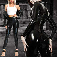 Women Push Up Yoga Pants Leather High Waisted Leggings Skinny Gym Tight Trousers