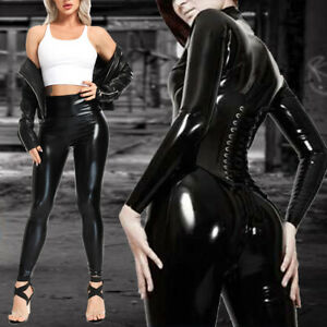 Damen Push Up Leder Optik Leggings Hohe Taille Skinny Tight Hose Wetlook Leggins