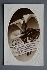 R&L Postcard: Easter Flowers, Embossed Holy Cross/Birds/Bell