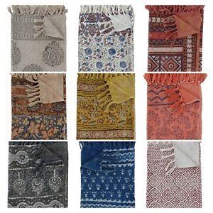 Hand Block Printed 100% Cotton Kilim Tassel Hand Woven Throw Coverlet 120x180 cm