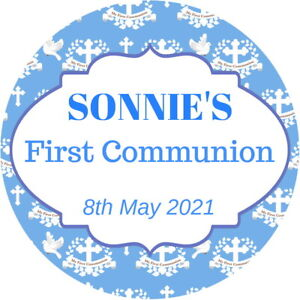 PERSONALISED CONFIRMATION 1ST HOLY COMMUNION GLOSS BAG PARTY SWEET CONE STICKERS