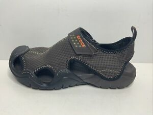 Crocs Mens Swiftwater Brown Leather Fisherman Sandals Shoe Size 7