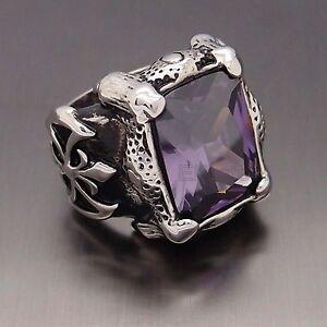 Men Silver Dragon Claw Amethyst Purple CZ 316L Stainless Steel Biker Ring