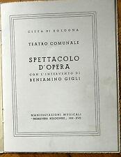 Beniamino Gigli 1939 Teatro comunale Bologna Opera  Libretto