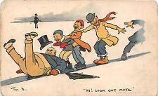 POSTCARD  COMIC   TOM  BROWNE   JOLLY  SKATERS