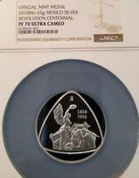 2010 MEXICO 62G SILVER MEDAL REVOLUTION CENTENNIAL NGC PF 70 ULTRA CAMEO POP 1