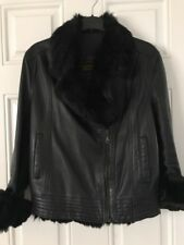 Orpelle Black FUR COLLAR Biker Designer Fashion Sheep Leather Jacket Size 36